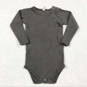 Quincy Mae Coal Ribbed Bodysuit